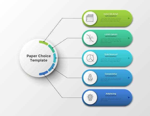 Esquema o diagrama de flujo con cinco elementos u opciones conectadas al círculo principal por líneas. plantilla de diseño de infografía limpia. ilustración de vector de visualización de proyecto o plan de negocios de 5 pasos.