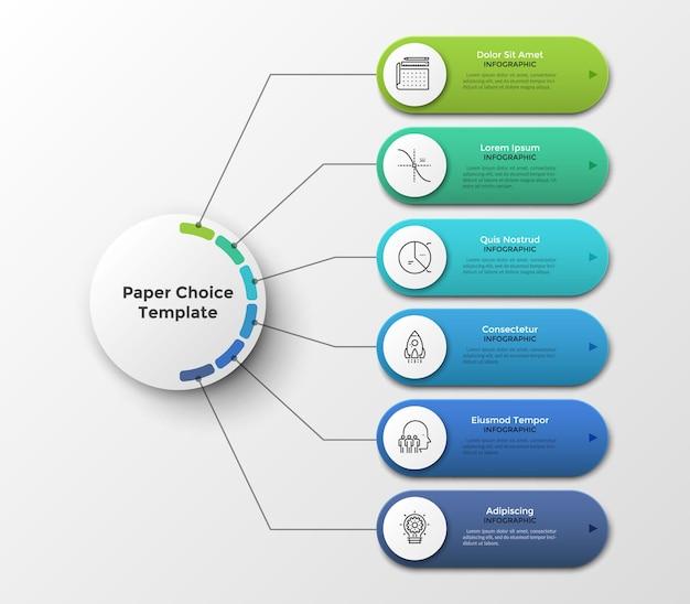 Esquema o diagrama de flujo con seis elementos u opciones conectadas al círculo principal por líneas. plantilla de diseño de infografía limpia. ilustración vectorial para visualización de proyectos o planes de negocios de 6 pasos.
