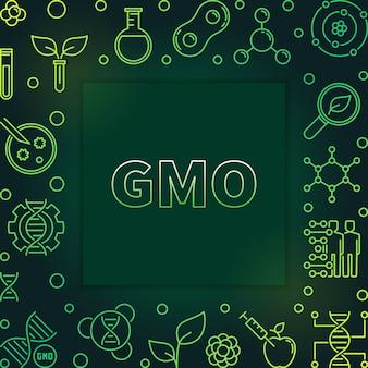 Esquema de organismo modificado genéticamente marco verde