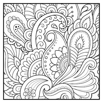 Esquema de patrón de flor cuadrada en estilo mehndi para colorear página de libro.