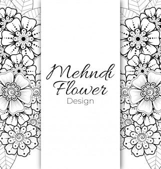 Esquema de patrón floral cuadrado en estilo mehndi. adorno de doodle en blanco y negro. dibujo a mano ilustración