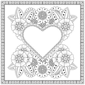 Esquema de patrón floral cuadrado en estilo mehndi para henna, mehndi, tatuaje, decoración. adorno decorativo en estilo étnico oriental. adorno de doodle. contorno mano dibujar ilustración. página para colorear.