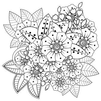 Esquema de patrón floral cuadrado en estilo mehndi