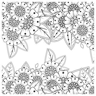 Esquema de patrón de flores cuadradas en estilo mehndi para colorear página de libro