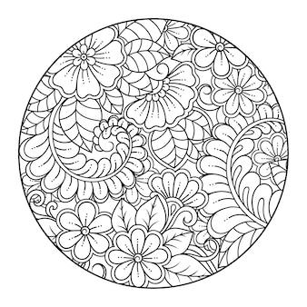 Esquema de patrón de flores redondas en estilo mehndi para colorear adorno de doodle de página de libro en ilustración de dibujo a mano en blanco y negro