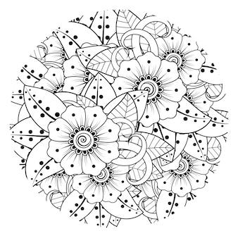 Esquema de patrón de flores redondas en estilo mehndi para colorear adorno de doodle de página de libro
