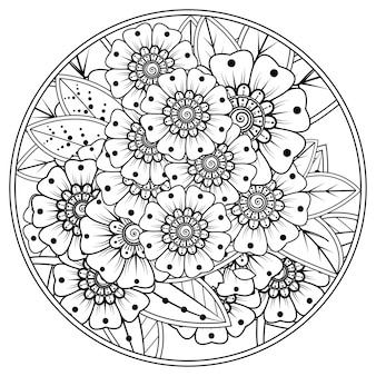 Esquema de patrón de flores redondas en estilo mehndi para colorear la página del libro