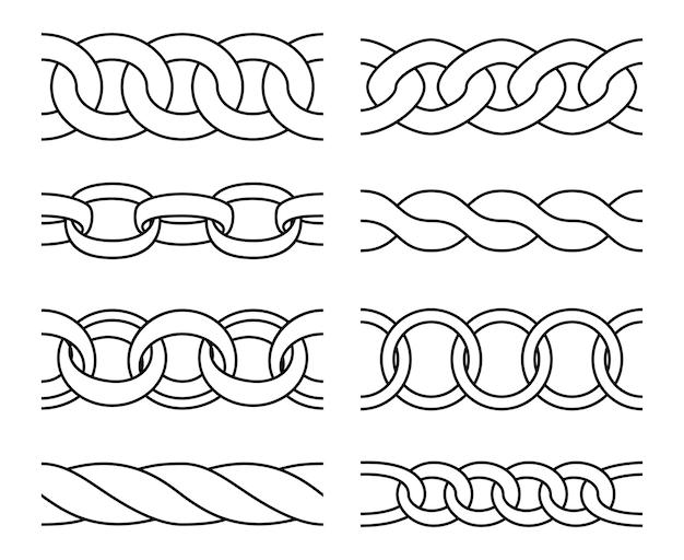 Esquema de patrones de cadena. cadenas de metales pesados enlazan adornos de líneas de patrones sin fisuras, dibujando bordes de hierro aislados