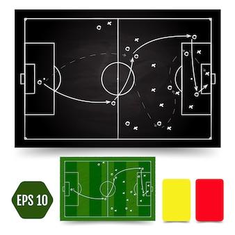 Esquema táctico del juego de fútbol. marco y estrategia de los futbolistas.