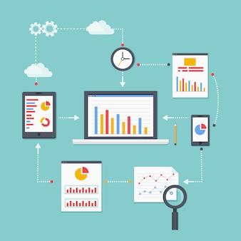 Esquema de vector plano de información, desarrollo y estadística de análisis web. ilustración vectorial