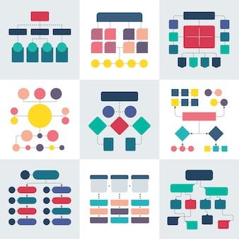 Esquemas de diagrama de flujo y diagramas de jerarquía, elementos de diagrama de flujo de trabajo