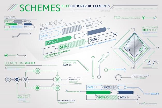 Esquemas de elementos infográficos planos