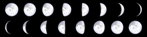 Esquemas de fases lunares, calendario lunar, luz de luna.
