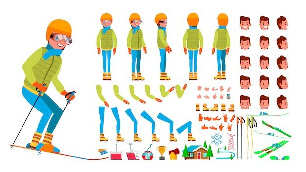 Esquí conjunto de personajes masculinos