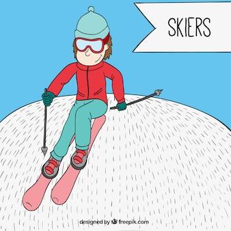 Esquiador esbozado en estilo dibujos animados