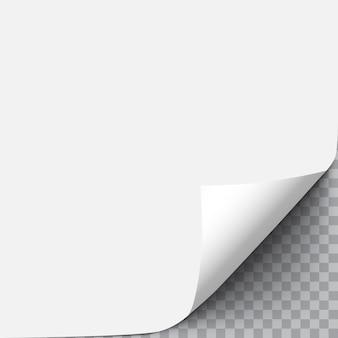 Esquina curvada de la hoja de papel blanco con sombra suave