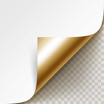Esquina dorada rizada de papel blanco con sombra de cerca aislado sobre fondo transparente