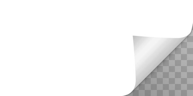 Esquina de la página rizada con sombra sobre fondo transparente. doblar papel. ilustración de plantilla para su diseño.