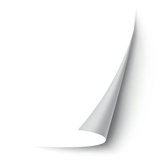 Esquina de papel rizado. esquina de la página curva, curvatura del borde de la página y hoja de papel doblada con sombra realista.