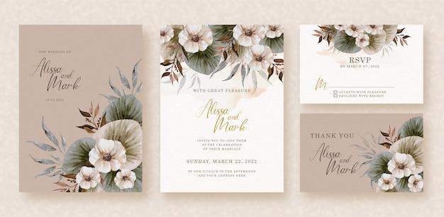 Esquina de ramo de flores acuarela en tarjeta de invitación de boda