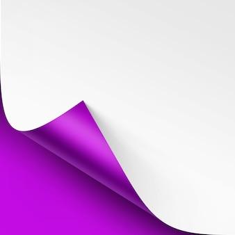 Esquina rizada de papel blanco con sombra