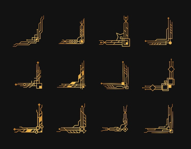 Esquinas art deco oro set esquinas artdeco para bordes y marcos