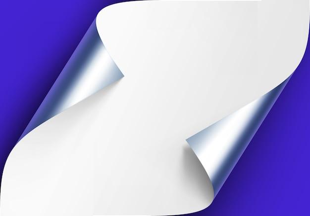 Esquinas de plata metálicas rizadas de papel blanco