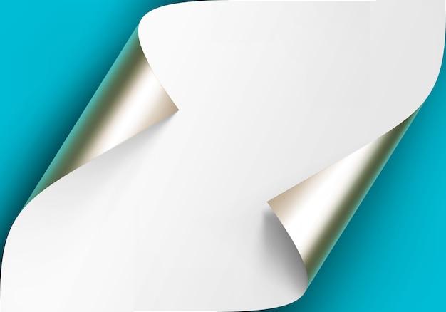 Esquinas rizadas de platino metálico de papel blanco