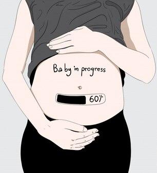 Esta chica está embarazada en la edad media. feliz día de la madre