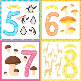 Establece el número de flashcard de los niños aprendiendo a contar