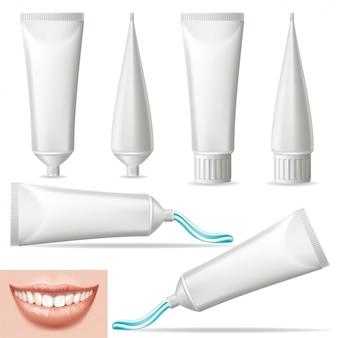 Establecer 3d realista pasta de dientes en blanco.
