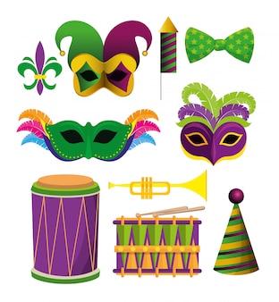 Establecer accesorios de decoración de mardi gras para festival