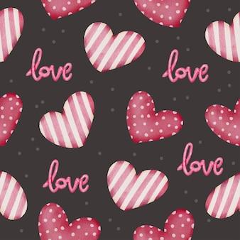 Establecer acuarela de patrones sin fisuras con corazones rojos y carta de amor, elemento de concepto de san valentín acuarela aislado encantador romántico para decoración, ilustración.