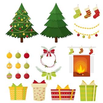 Establecer adornos de árboles de navidad presenta bolas para calcetines de vacaciones de pino chimenea aislada
