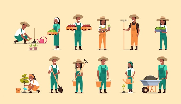 Establecer los agricultores que sostienen diferentes equipos agrícolas cosechando siembra verduras masculinas mujeres trabajadoras agrícolas colección eco agricultura concepto de longitud completa horizontal