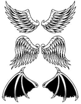 Establecer alas demonio y ángel ilustración