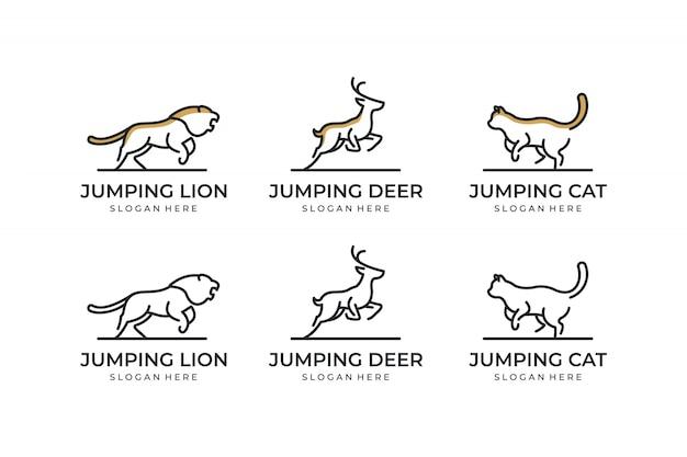 Establecer animal con inspiración de diseño de logotipo de concepto de línea
