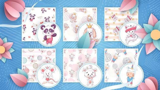 Establecer animales lindos - patrón transparente