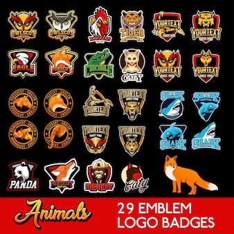 Establecer animales logotipo emblema deportes