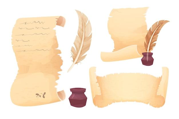 Establecer antiguo rollo de papiro pergamino y pluma pluma en estilo de dibujos animados aislado sobre fondo blanco.