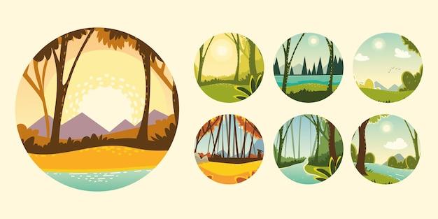 Establecer árboles de vegetación de naturaleza forestal