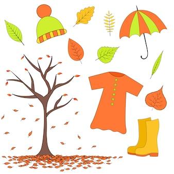 Establecer artículos de otoño de hojas, botas de goma, impermeable, sombrero paraguas