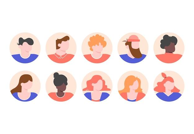 Establecer avatares de perfiles de personas con rostros masculinos y femeninos.