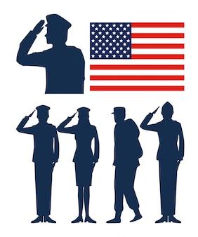 Establecer bandera de estados unidos con soldados patrióticos