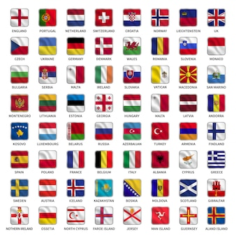 Establecer banderas de países de europa con estilo de forma cuadrada que agita