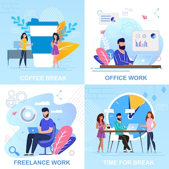 Establecer banner coffee break, trabajo de oficina de dibujos animados