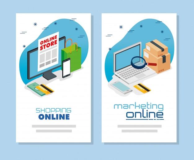 Establecer banner de computadora de compras y marketing en línea