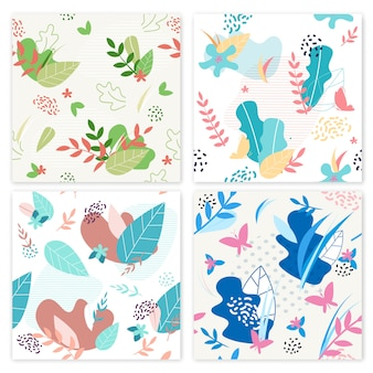 Establecer banner flower decorations vector ilustración.