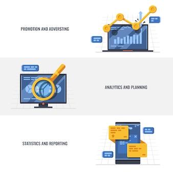 Establecer banner de promoción y publicidad, análisis y planificación, estadísticas e informes