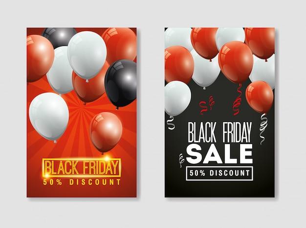 Establecer banner viernes negro con globos decoración de helio